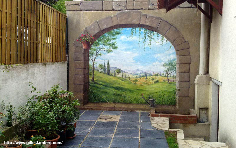 On pinterest murals wall murals and wallpaper murals for Decoration mur exterieur jardin
